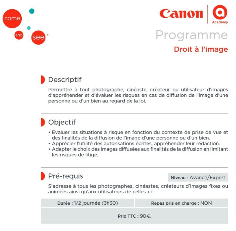programme canon academy